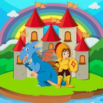 Chevalier et dragon au palais