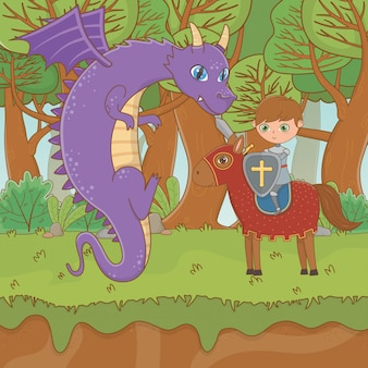 Chevalier et dragon de conte de fées