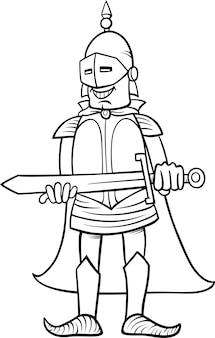 Chevalier avec épée page de coloriage