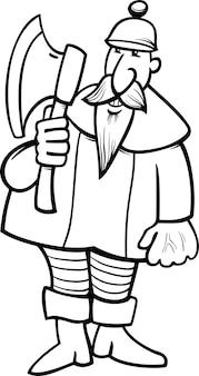 Chevalier avec la hache page de coloriage