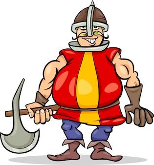 Chevalier avec illustration de dessin animé de hache