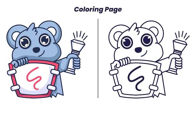Chevalier koala mignon avec des pages à colorier adaptées aux enfants