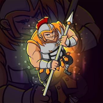 Le chevalier avec la lance esport logo design d'illustration