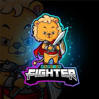 Le chevalier lion cub esport logo design d'illustration