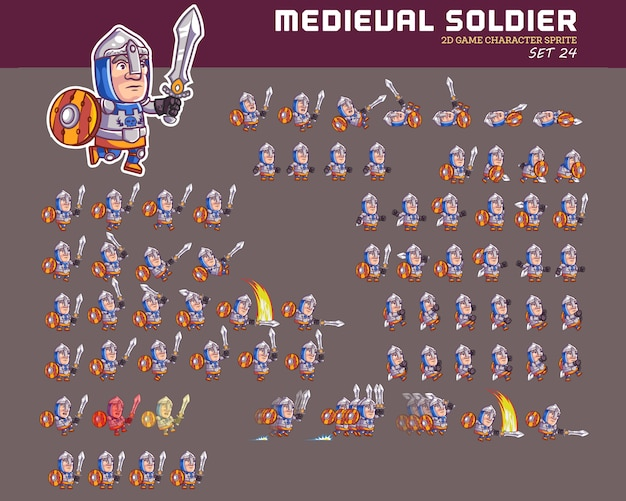 Chevalier médiéval cartoon game character animation sprite