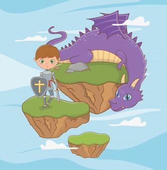 Chevalier médiéval et dragon de conception de conte de fées