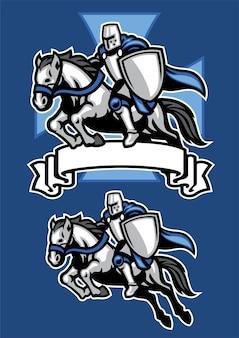 Chevalier médiéval guerrier équitation mascotte de cheval