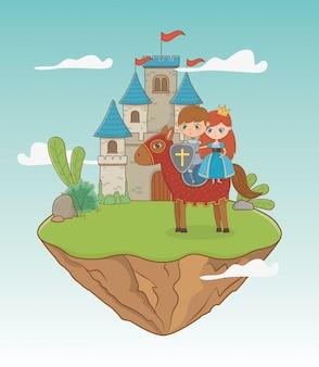 Chevalier princesse et cheval de conception de conte de fées