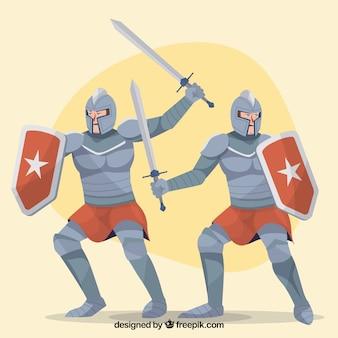 Chevaliers en armure avec une épée et un bouclier
