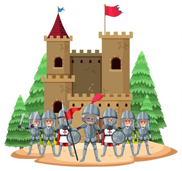 Chevaliers debout à l'extérieur du château