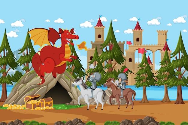 Les chevaliers se battent avec le dragon au château