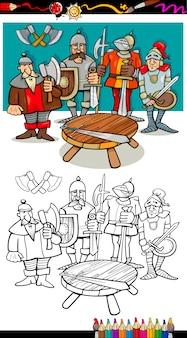 Chevaliers de la table ronde à colorier