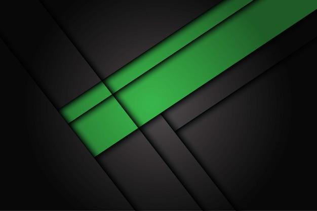 Chevauchement vert abstrait sur fond futuriste moderne de conception métallique gris foncé