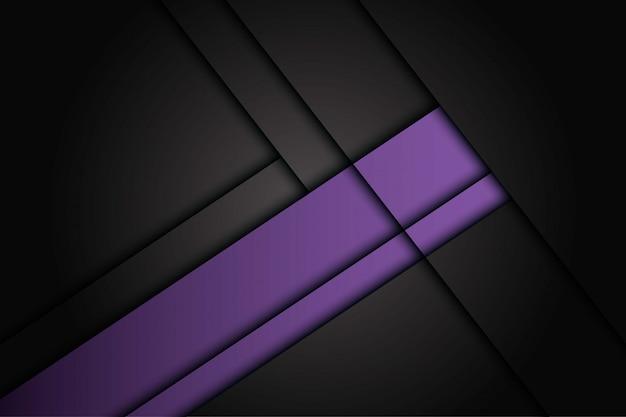 Chevauchement violet abstrait sur fond futuriste moderne de conception métallique gris foncé