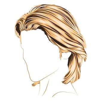 Cheveux blonds courts et garçon coupés pour illustration vectorielle femme