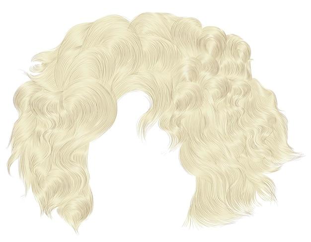 Cheveux bouclés femme tendance isolé sur blanc