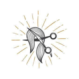 Cheveux de coiffeur couper illustration dessinés à la main