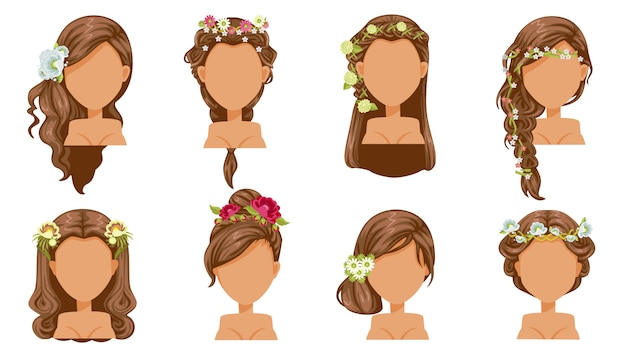Cheveux de fleur. coiffure de mariée, accessoires de princesse. belle coiffure. mode moderne pour assortiment. coupe de cheveux à la mode longue, courte, bouclée.