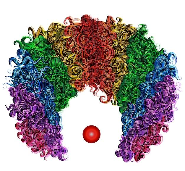 Cheveux de perruque colorée de clown.