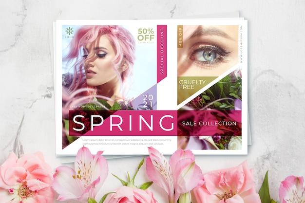 Cheveux roses femme vente printemps saison concept