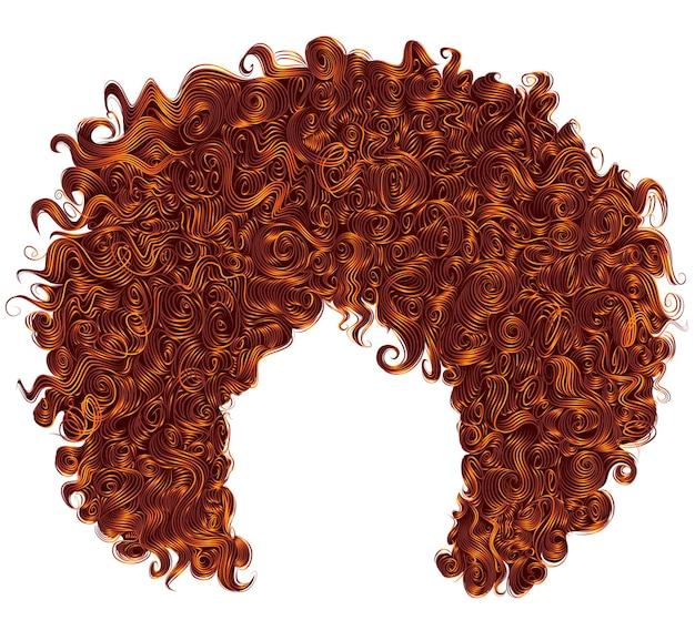 Cheveux Roux Bouclés à La Mode. 3d Réaliste. Coiffure Sphérique. Vecteur Premium
