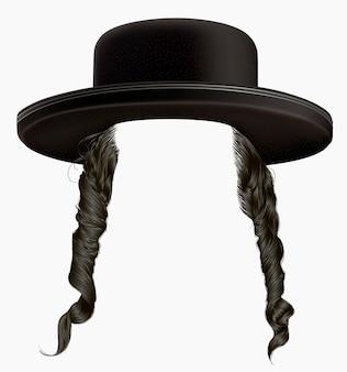 Cheveux sidelocks perruque juif hassid en chapeau.