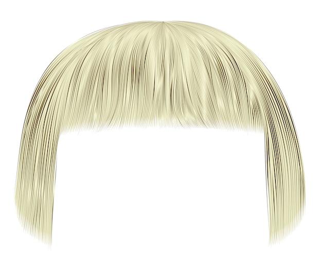 Cheveux tendance blonde couleur claire, frange. mode beauté