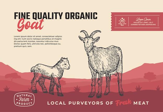 Chèvre biologique de qualité supérieure. conception d'emballage de viande abstraite