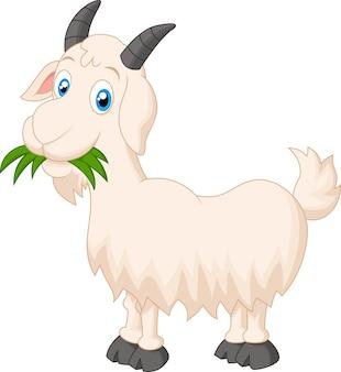 Chèvre cartoon mangeant de l'herbe