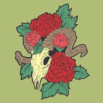 Chèvre et roses