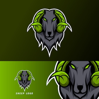 Chèvre sheeep mascotte sport esport logo modèle noir fourrure corne verte