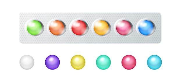 Chewing-gum coloré sous blister plastique et séparément. bonbons sucrés réalistes pour l'hygiène dentaire et la fraîcheur de la bouche. illustration vectorielle 3d