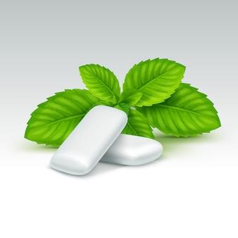 Chewing-gum avec des feuilles de menthe fraîche isolé