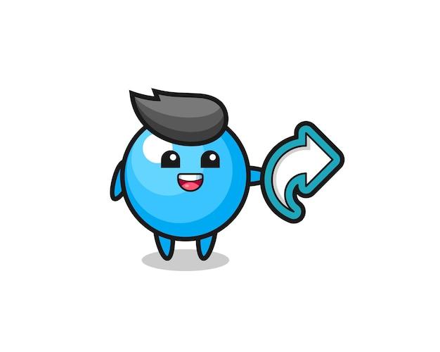 Le chewing-gum mignon tient le symbole de partage des médias sociaux, la conception de style mignon pour le t-shirt, l'autocollant, l'élément de logo