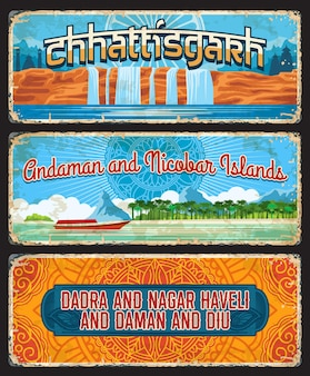 Chhattisgarh, îles andaman et nicobar, dadra et nagar haveli et daman et diu états indiens plaques vintage. signes âgés de destination de voyage de vecteur, monuments de l'inde. ensemble de planches ou de bannières rétro