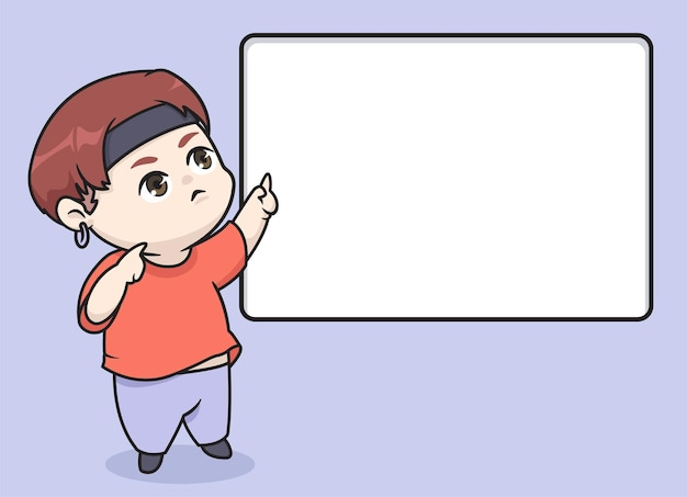 Chibi kpop boy pointant l'illustration de l'espace vide