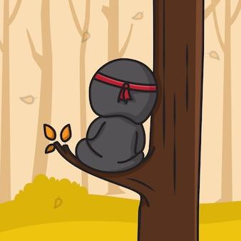 Chibi ninja assis dans une branche d'arbre d'automne