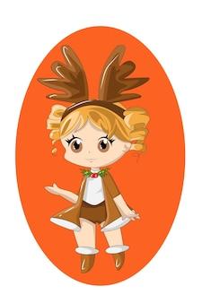Chibi noël avec costume de cerf