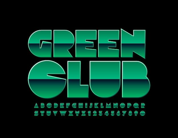 Chic emblem green club. police brillante unique. lettres et chiffres de l'alphabet élégant
