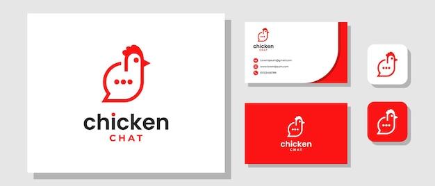 Chicken bubble chat food message talk farm restaurant logo design avec mise en page de l'identité de la marque