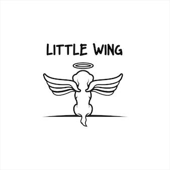 Chien avec des ailes vu de derrière.logo pet.