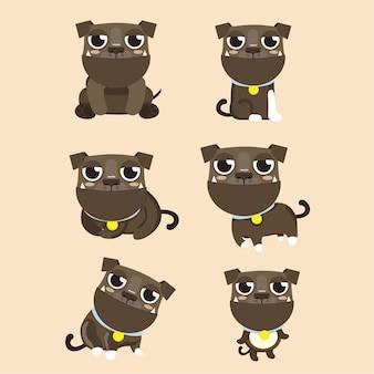 Chien américain pitbull terrier mis dans différentes poses.