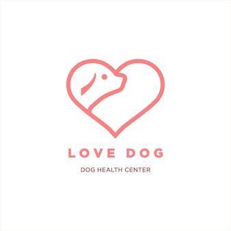 Chien d'amour vecteur tête de chien et illustration de logo d'amour