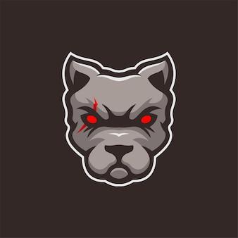 Chien animal tête dessin animé logo modèle illustration esport logo jeu premium vecteur