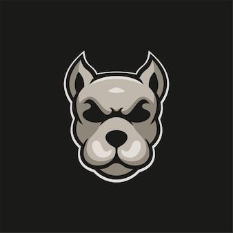 Chien Animal Tête Dessin Animé Logo Modèle Illustration Esport Logo Jeu Premium Vecteur Vecteur Premium
