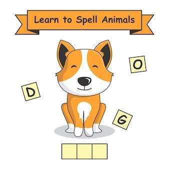 Chien apprendre à épeler les animaux.