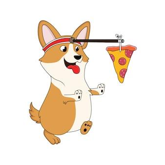 Chien de bande dessinée court après la pizza