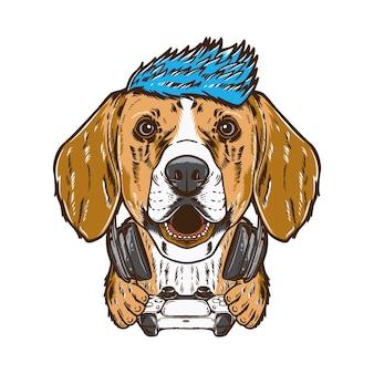 Chien beagle hipster cool isolé sur blanc
