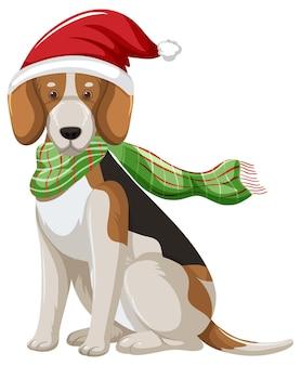 Chien beagle portant le personnage de dessin animé de chapeau de noël