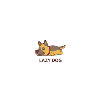 Chien de berger allemand paresseux, dormir icône de dessin animé